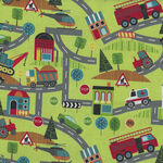 Around Town Road Map By Nutex Fabric Cotton 80320 Colour 103 Green.