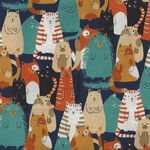 Cats By Sevenberry Fabrics 850303 Col.4. Multi Cats On Black.