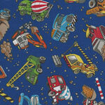Construction Trucks by Nutex Fabric Cotton 87740 colour 10 Navy.