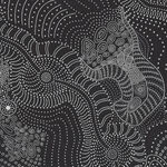 Dreamtime River Bed Black by Anna Pitjara for M&S Textiles code DRBB