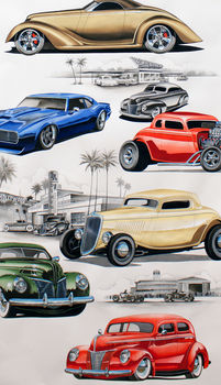 Alexander Henry Chopped And Chanelled Hot Rods Fabric 8490 Bright