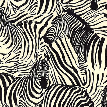 Alexander Henry Fabrics Africa 8798 Colour BR Zendaya BlackCream Zebras