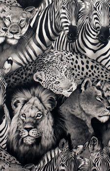 Alexander Henry Lion Eyes Fabric 2883A Black