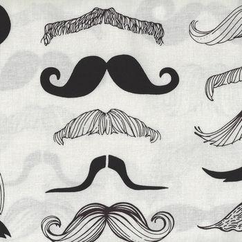 Alexander Henry Whereand39s My Stache Cotton Fabric 7567 A BlackCream