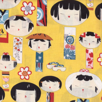 Alexander Henry Yui Kokeshi Fabric 6757 colour D Ginger