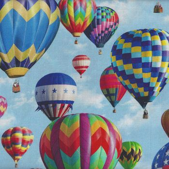 American Byways Hot Air Balloons Spectrum Digital Print from Hoffman HP4343 016