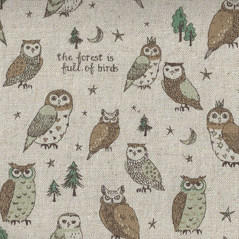 Animal World Owl from Kokka CottonLinen Fabric KYK56030 002A Natural