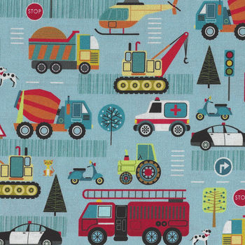 Around Town Traffic By Nutex Fabric Cotton 80320 Colour 101 Blue