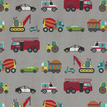 Around Town Traffic By Nutex Fabric Cotton 80320 Colour 104 Grey