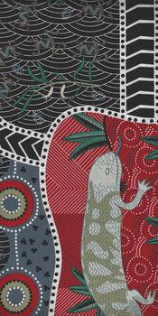 Australian Blue Tongue Lizard Black Cotton Fabric by MandS Fabric