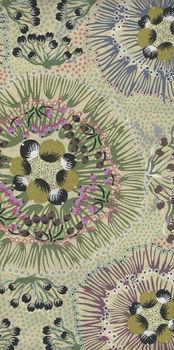 Australian Bush Plum Ecru Cotton Fabric from MandS Textiles
