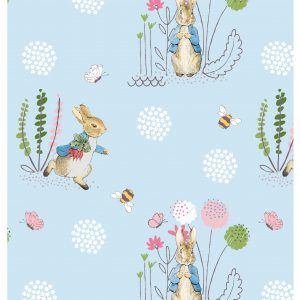 Beatrix Potter Peter Rabbit Fabric by Visage 2565 D4 Peter Rabbit on Blue