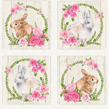 Bunny Love by Northcott Fabrics 22761 Colour 11 Pale Grey Background