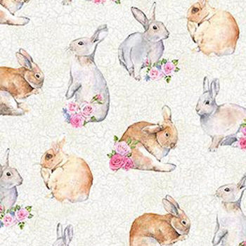 Bunny Love by Northcott Fabrics 22763 Colour 11 Pale Grey Background