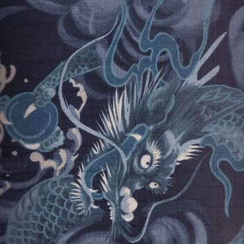 CHINESE DRAGONS ON LINENLOOK COTTON FABRIC