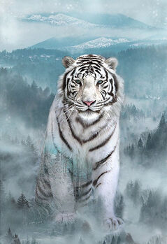 Call Of The Wild Hoffman Spectrum Digital Panel R4564 190 White Tiger Ice Blue 29 x 43