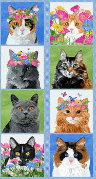 Cat Panel  by Two Can Art for Andover Fabrics Pattern 9342  24 x 44