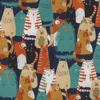 Cats By Sevenberry Fabrics 850303 Col4 Multi Cats On Black