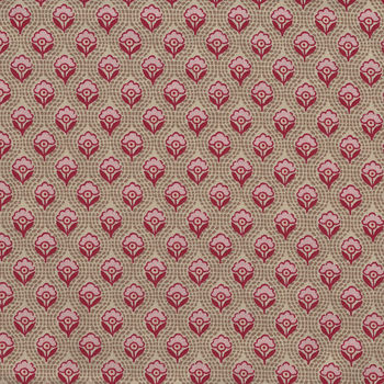 Chafarcani By French General For Moda Fabrics M1385616 Taupe Red Cream Pink