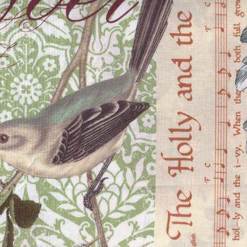 Christmas Birds Holly Flourish from Michael Miller 4951Multi