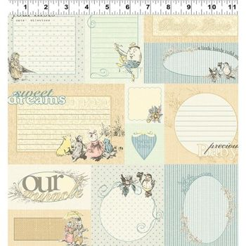 Clothworks Cotton Fabric Lullaby Y180258 Light Butter Quilt Labels Baby