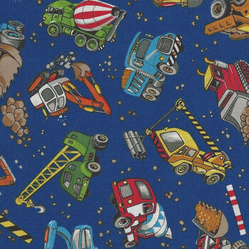 Construction Trucks by Nutex Fabric Cotton 87740 colour 10 navy