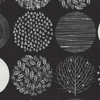 Cosmo CottonLinen Fabric 25 Circles SP1860 Colour 10D BlackWhite