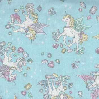 Cosmo Textiles Unicorns On Soft BlueAqua AP75409 Col C