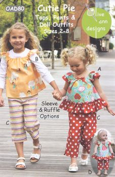 Cutie Pie Tops Pants and Doll Outfits Pattern from Olive Ann Designs