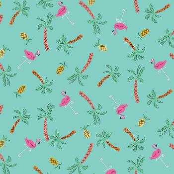 Dashwood Studios Lazy Days by Louise Cunningham Lazy 1755 Aqua Flamingos