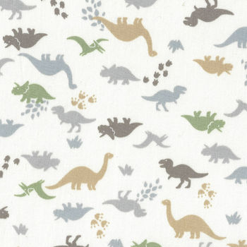 Dinosaur Mini by Handworks Fabric Japanese DH10109S Colour B White
