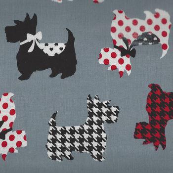 Dotty for Scotty By Greta Lynn for Kanvas Fabrics 7887 Colour Grey  Sweet Scotties
