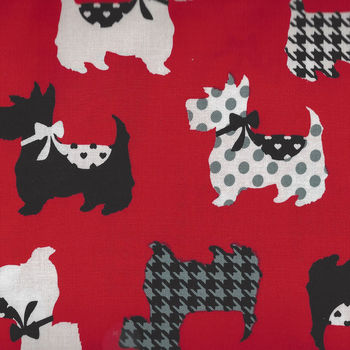 Dotty for Scotty By Greta Lynn for Kanvas Fabrics 7887 Colour Red  Sweet Scotties