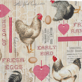 Early Bird Roosters And Hens From Windham Fabrics 513971 Antique Cream