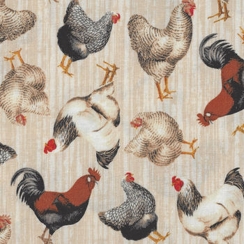 Early Bird Roosters And Hens From Windham Fabrics 513981 Antique Cream