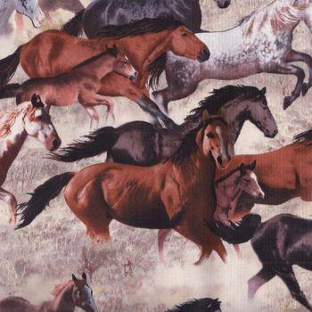 Elizabeth Studios Cotton Fabric andquotHappy Trailsandquot Horses