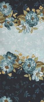 English Country Style MAS9162B Blue Rose Border Print by Maywood Studio
