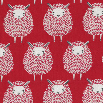 Farm Charm By Gingiber For Moda Fabrics M48291 14 Sheep Red and White