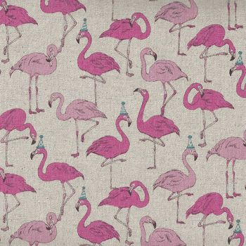 Flamingos Pink for Cosmo Textiles by Gaku 68630 Colour 102 CottonLinen