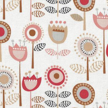 Flourish By Dashwood Studio Cotton Fabric FLOU 1489 Off WhiteDusky Peach