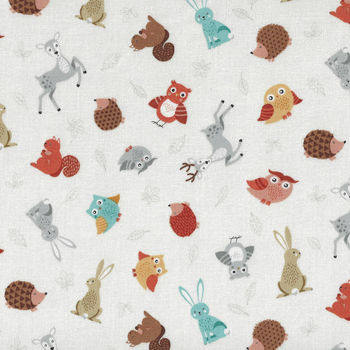 Forest By Makower UK Fabric Style 2170 Color Q Forest Animals Scatter on Off White