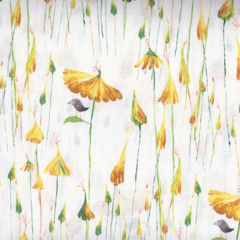 Friends In Wild Places by Clothworks Y16399 Yellow Cotton Fabric