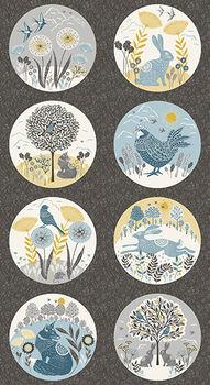 Grove Woodland Fabric Panel by Lynne Goldsworthy for Makower Fabrics Design 2167 col 1