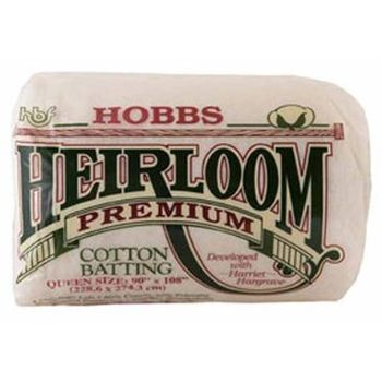 HOBBS Heirloom Premium Cotton Batting Queen Size 90andquotx108andquot