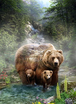 Hoffman Call Of The Wild 24+quot Grizzly Bear and Cubs Panel Digital Grizzly By