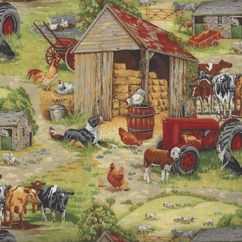 In The Country from Nutex Fabrics 89310 Color 101 Farm Scene