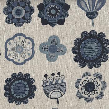 Japanese CottonLinen Blend Fabric H6873 Colour D NaturalNavy