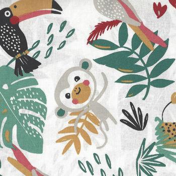 Jungle Animals By Domotex Cotton Fabric Design Payadi Colour 1B White  60Wide