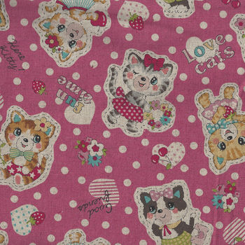 Kokka Retro Cute Cat CottonLinen 8020 10A95000 2A11
