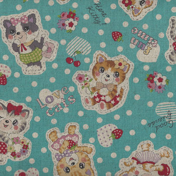 Kokka Retro Cute Cat CottonLinen 8020 10A95000 2B12
